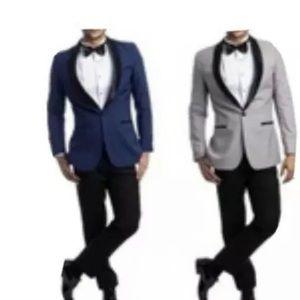 Azzuro Men's Tuxedo 2pcs Satin Shawl Collar Blue